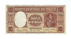 Chile -  Ten (10) Pesos, 1945