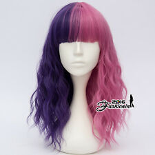 Punk Lolita Ombre Women Party Purple Mixed Pink 45CM Curly Hair Cosplay Wig