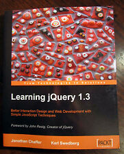 Learning JQuery 1.3 by Jonathan Chaffer, Karl Swedberg - Paperback (2009)