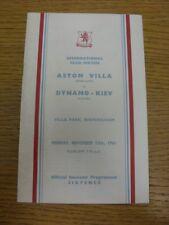 13/11/1961 Aston Villa v Dynamo Kiev [Friendly] . Thanks for viewing this item o