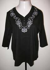 NEW ULLA POPKEN Pretty Posies Embroidered Knit Tunic Top Black XL 12 14