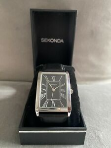 Stylish Men's Sekonda Watch, Black Leather Strap, Black Dial, Brand New In Box