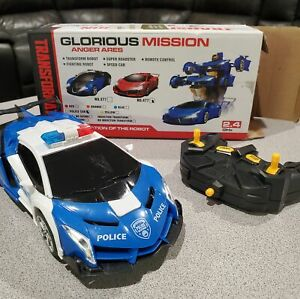 Police RC Car Robot for Kids, Remote Control Transforming Robot Car Toy, One Key