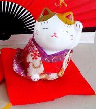 JAPANESE MANEKI NEKO WHITE LUCKY CAT ORNAMENT FIGURE CHINESE FENG SHUI PU 302PU2