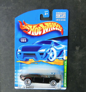 HOT WHEELS #4 BLACK W/FLAMES RODGER DODGER 01 TREASURE HUNT WITH W/W REAL RIDERS