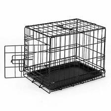 Cage de Transport Voyage Pour Animaux Solide Pliable avec Porte Poignée Serrure