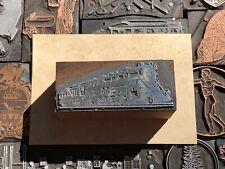 Antique Vtg Locomotive Train Railroad Letterpress Print Type Cut Ornament Block