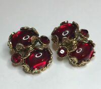 Vtg Estate Clip-on Earrings 40s 50s Art Deco Red Cabochon, Rhinestone Hollycraft