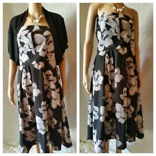 CITY CHIC Dress 18 20 M Black Floral Pattern Off Shoulder+Bolero Shrag Outfit