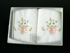 Vintage 'POLO' LADY'S HANKIES Box of 2 ~ Daisy Embroidery 26 x 26 cm NEW in Box