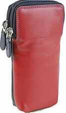 ZIPPED Soft Golunski Leather Double Spectacle Glasses Case Multi Coloured - 157 Red/navy