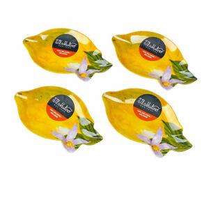 Lemons Lemon Tree Melamine Shaped Bread Appetizer Plates Set of 4 by Il Mulino
