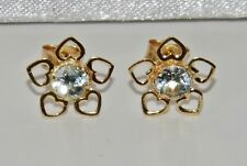 9ct Gold Aqua Blue Topaz Flower Ladies Stud Earrings -