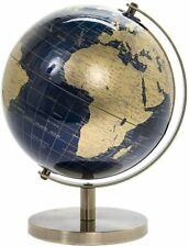 27cm Gold Blue World Globe Vintage Rotating Atlas Office Desk Ornament Home