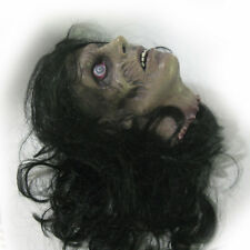 Female Zombie Cut Off Human Flat Head Scary Halloween Haunted House Party Prop