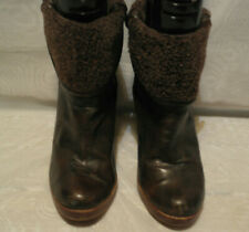 MARKS & SPENCER WOMENS BROWN PULL ON LEATHER ANKLE BOOTS SIZE:7/41(WB3263)
