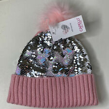 S/M Capelli New York Flip Sequin Girls Beanie w Pompom Pink/Multi-Color NWT