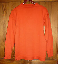 Le Tricoteur, traditional guernsey, size S; traditional wool jumper, bright red