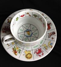 Zodiac Tasseomancy Fortune Astrology Reading Tea Leaves Tea Cup / Saucer Japan