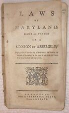 1785 LAWS OF MARYLAND  SLAVERY  TOBACCO  FORNICATION  BADGES ON POOR  WOLVES TAX