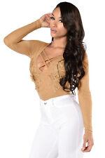 Body camicia maglia ricamo pizzo trasparente Floral Applique Mesh Bodysuit M