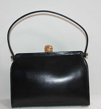 COBLENTZ NAVY BLUE LEATHER FRAMED TOTE WITH FANCY GOLD FINIAL THUMB TAB