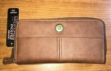 Stone Mountain Women's Tan Leather Bi Fold/Zip Around Wallet-NWT