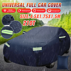 210T Full Car Cover Waterproof Breathable UV Rain Dust Resistant Protection 15ft