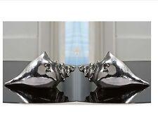 "Set of 2 - 6"" Silver Seashell  Shell Table Decor Nickel Plated Aluminum"