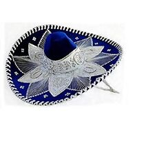 "#100 Royal Blue White Mariachi Sombrero Hat Silver Trim Adult Costume Mexico 23"""