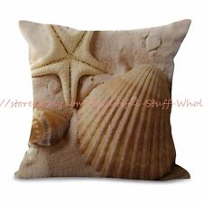 US SELLER-cheap couch beach seaside scenery shells starfishes cushion cover