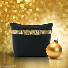 Avon Maquillaje Cosméticos Bolso-Elegante Bolso-Negro Con Ribetes De Oro