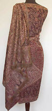 Large Wool Jamavar, Paisley India Shawl Dark Brown Pasahmna Style
