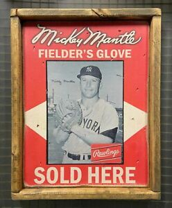 Mickey Mantle 12x15 Rawlings Fielder's Glove Advertisement Ad Wood Frame rare