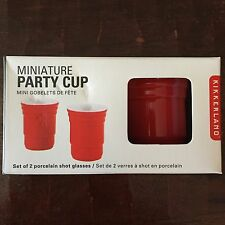 KIKKERLAND RED SOLO PARTY CUP SHOT GLASSES PORCELAIN SET OF TWO NEW IN BOX GIFT