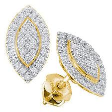 10 Quilates Oro Amarillo 0.20ctw Diamante micropavé Pendientes