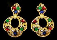 JOMAZ Moghul 'Jewels of India' Ruby, Sapphire, Emerald Pendant Clip Earrings