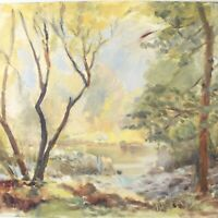 English School oil painting landscape river trees impressionist 20th century