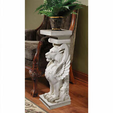 """30"""" Architectural Stylized Winged Lions Home Garden Pedestal Urn Plant Stand"""