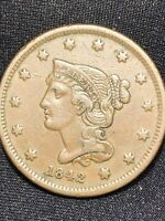 1842 Braided Hair Large Cent Small Date N.1 Nice Brown Higher Grade Piece