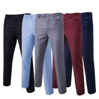 Mens Slim FIT Stretch Chino Trousers Casual Flat Front  Full Pants