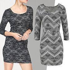 tolles Mini Jerseykleid Kleid Gr.42 sexy Stretch Zick-Zack Muster schwarz weiß