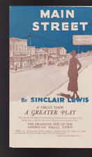 Main Street by Sinclair Lewis Play Brochure Alma Tell McKay Morris 1921