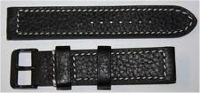 KHS Tactical Watch Büffelleder Armband Lederarmband Ersatzarmbänder schwarz 22mm