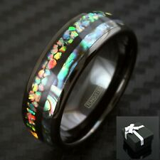 8mm Tungsten Mens Polished Black Hawaiian Opal & Abalone Inlay Wedding Band Ring