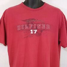Tommy Hilfiger Jeans Mens T Shirt Vintage 90s Red Spell Out Size Large