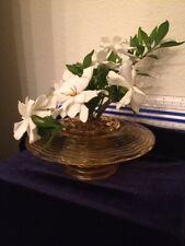 Vtg Flower Frog Rippled Amber Glass Posey Vase Bowl & Frog 2piece Patent 436637
