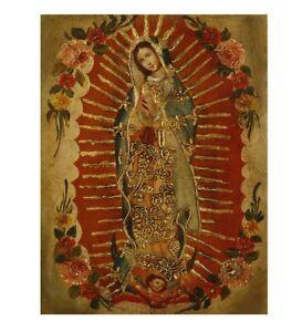 Guadalupe Virgin Original Colonial Cuzco Peru Art Oil Painting On Canvas