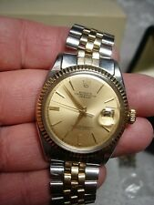 GREAT VINTAGE ROLEX OYSTER PERPETUAL DATEJUST 14K/SS MENS WATCH 1601 w/ Boxes