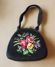 *Vintage 1950s Black Leather & Floral Embroidered Handbag